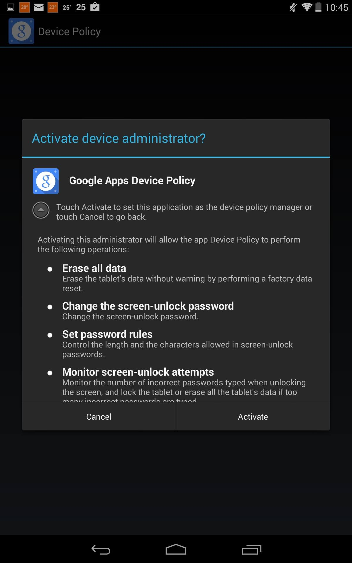 Click On Enforce To Enable The Policy For Your Device
