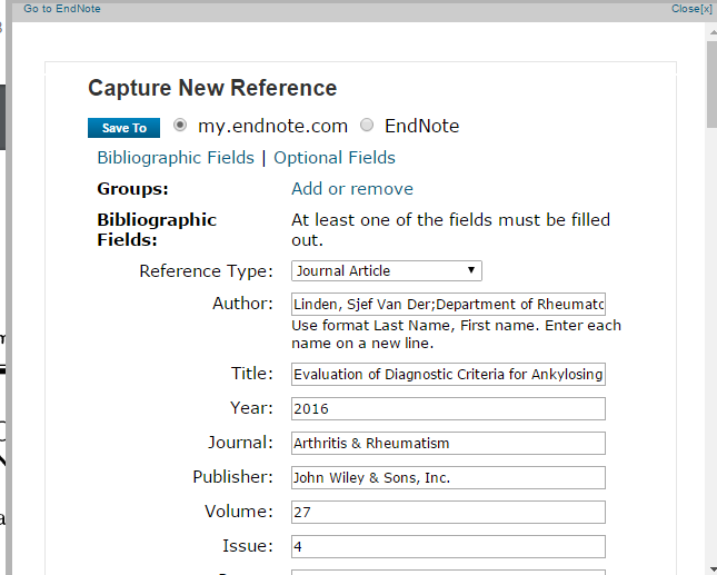 how to use endnote capture reference