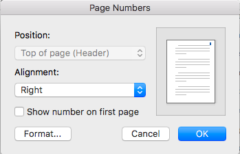 Page Numbers dialog